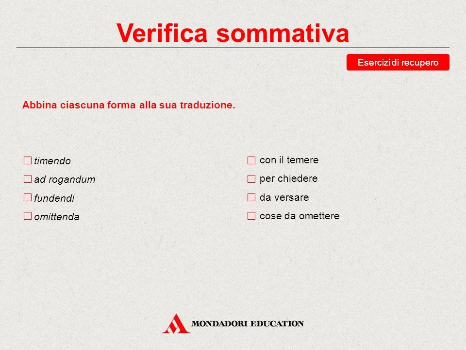 Verifica sommativa Abbina ciascuna forma alla sua traduzione. timendo