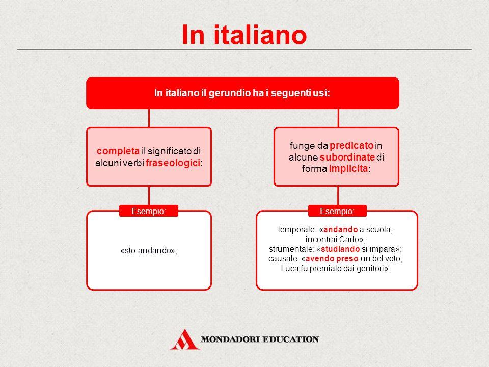 In italiano il gerundio ha i seguenti usi: