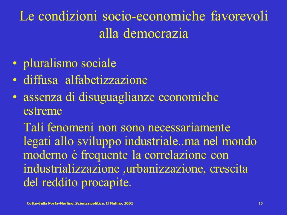 Le condizioni socio-economiche favorevoli alla democrazia