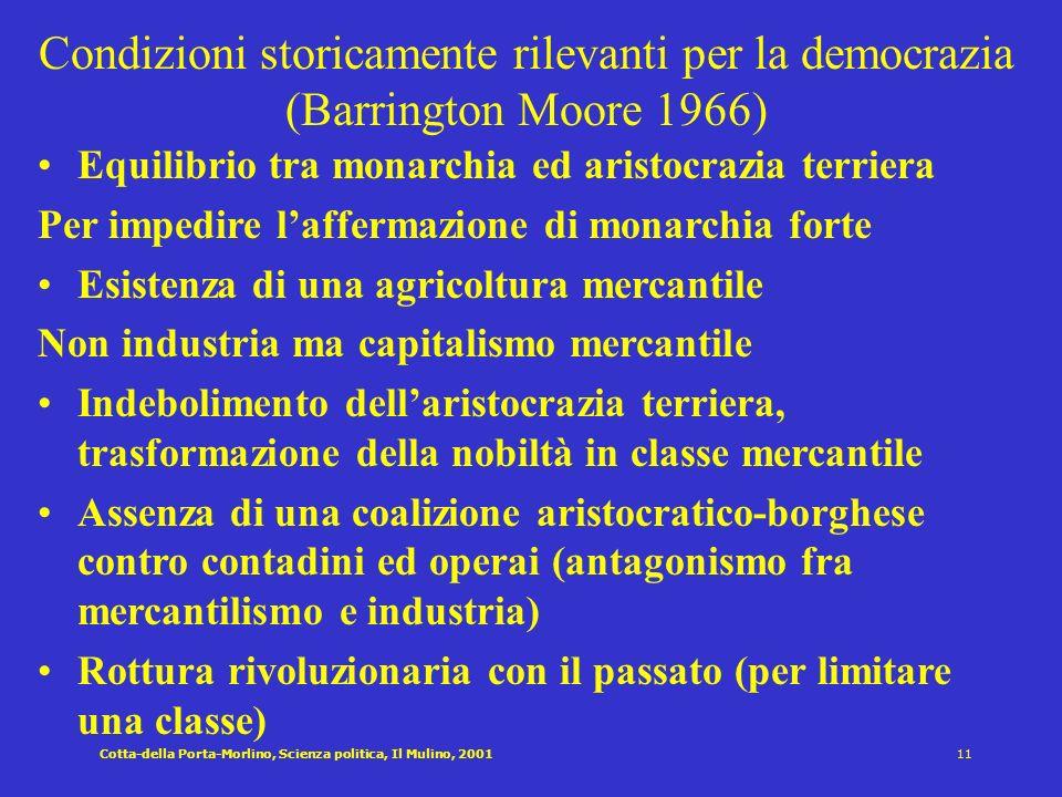 Condizioni storicamente rilevanti per la democrazia (Barrington Moore 1966)