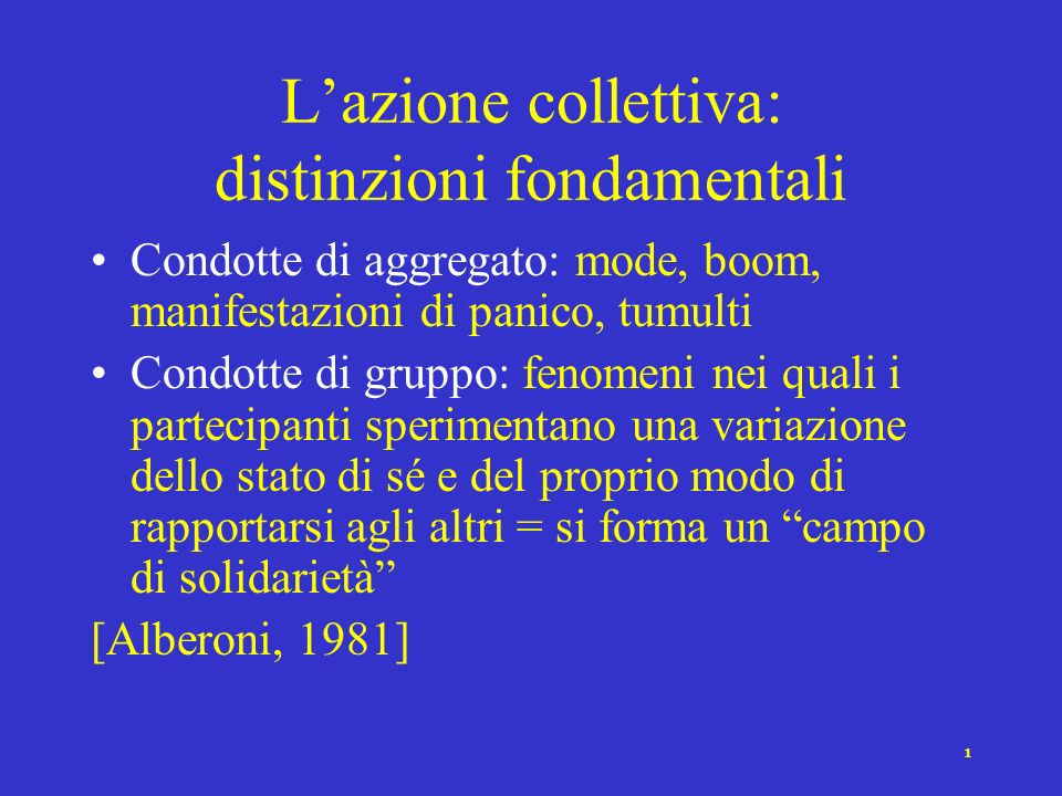 L'azione collettiva: distinzioni fondamentali