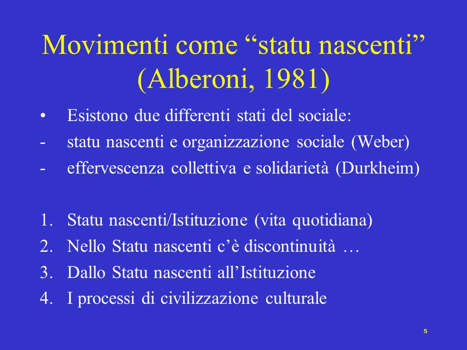 Movimenti come statu nascenti (Alberoni, 1981)