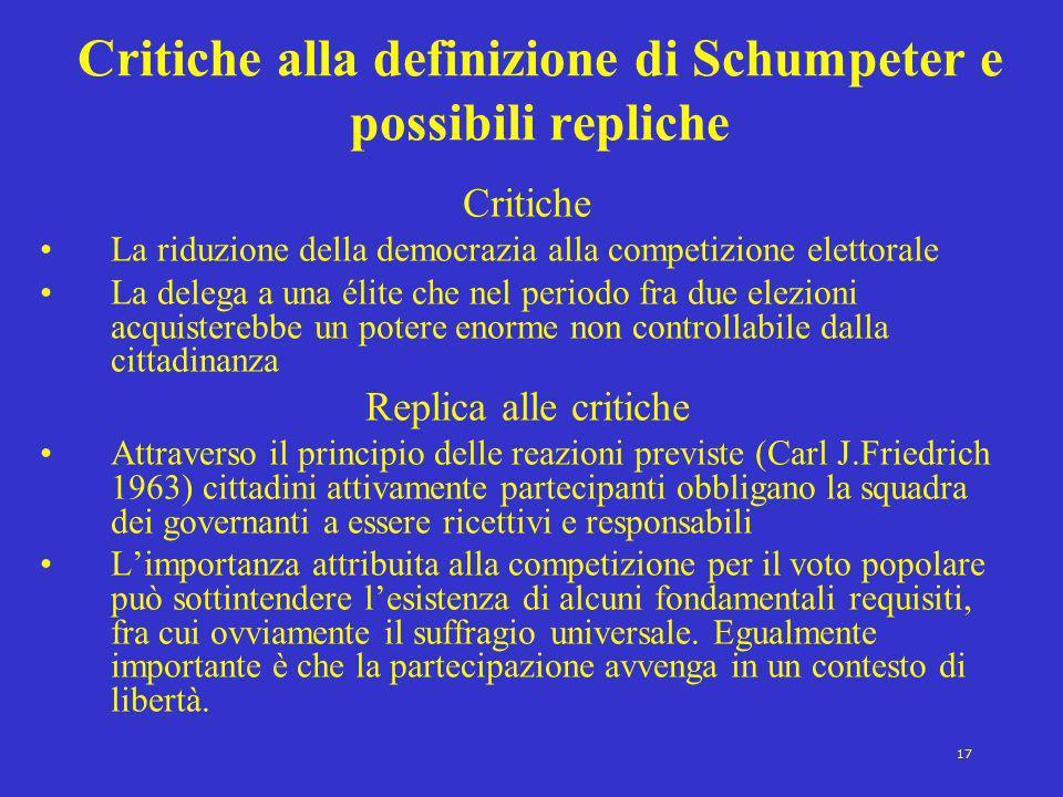 Critiche alla definizione di Schumpeter e possibili repliche