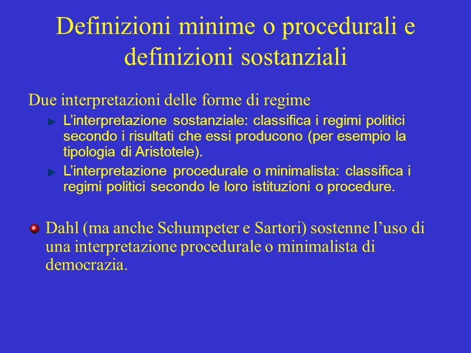 Definizioni minime o procedurali e definizioni sostanziali