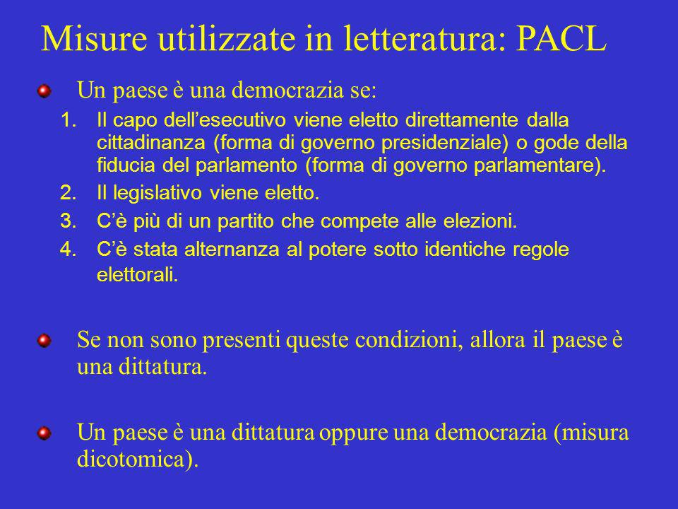 Misure utilizzate in letteratura: PACL
