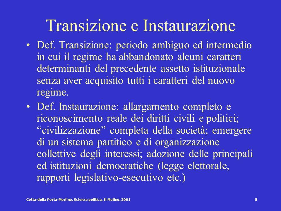 Transizione e Instaurazione