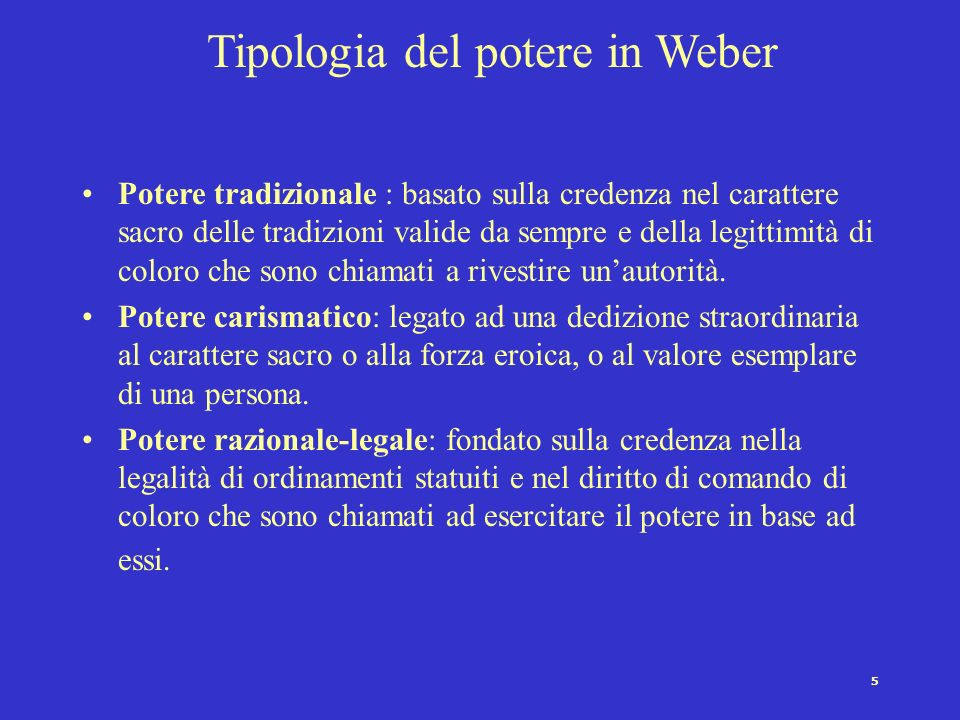 Tipologia del potere in Weber