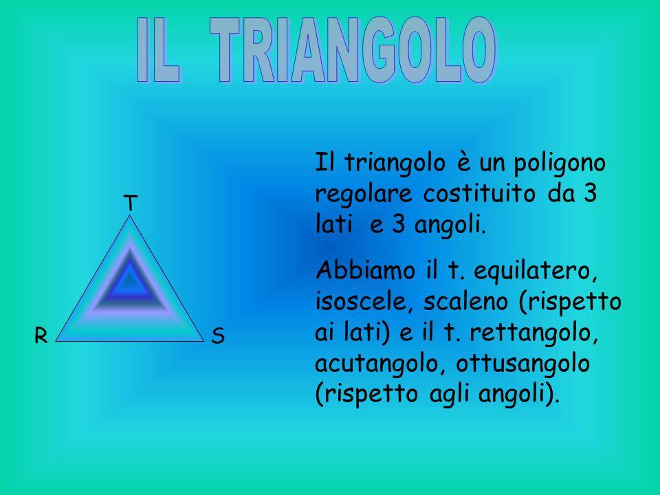 IL TRIANGOLO Il triangolo è un poligono regolare costituito da 3 lati e 3 angoli.