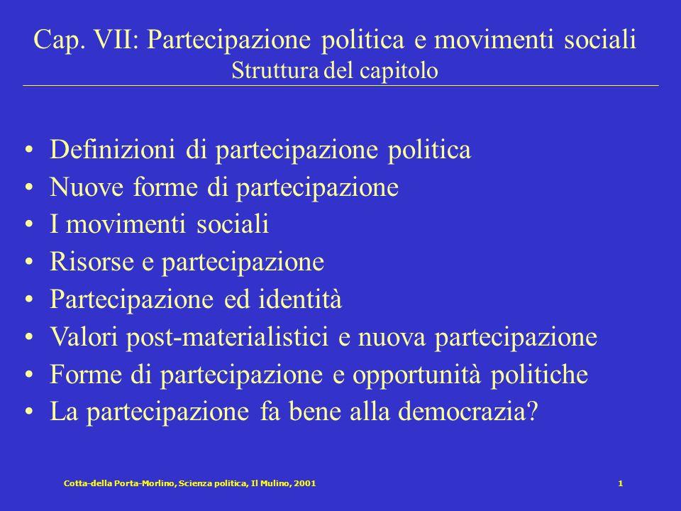 Definizioni di partecipazione politica Nuove forme di partecipazione