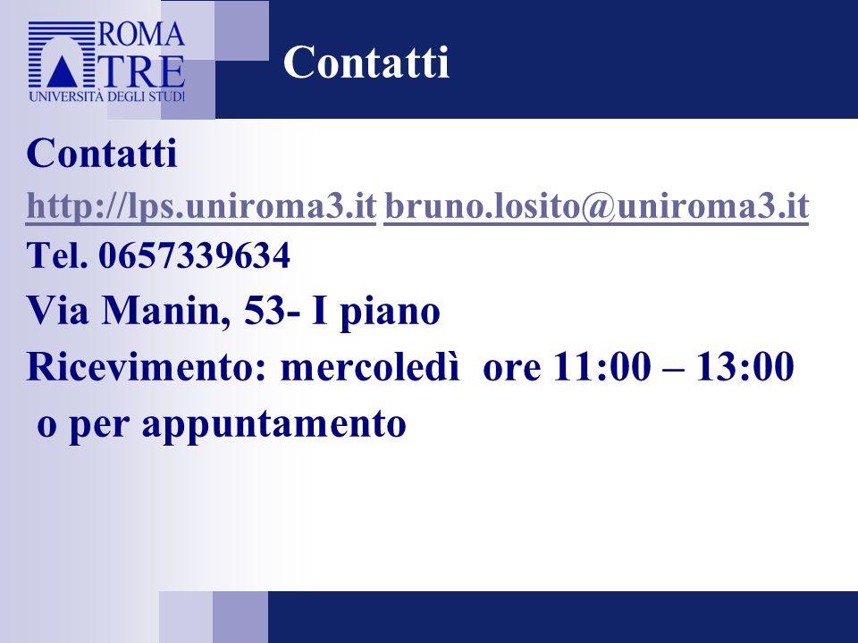Contatti Contatti Via Manin, 53- I piano