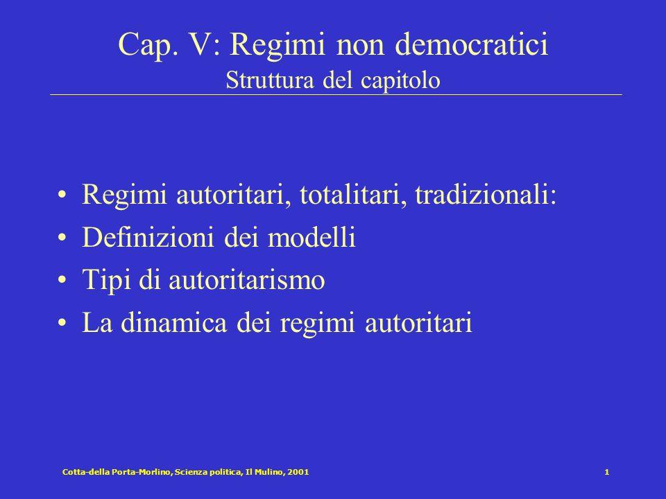 Cap. V: Regimi non democratici Struttura del capitolo