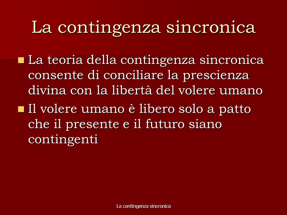 La contingenza sincronica