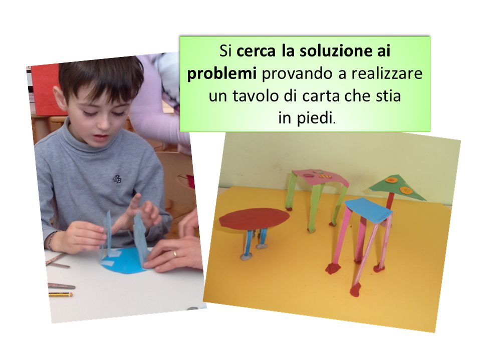 Si cerca la soluzione ai problemi provando a realizzare un tavolo di carta che stia