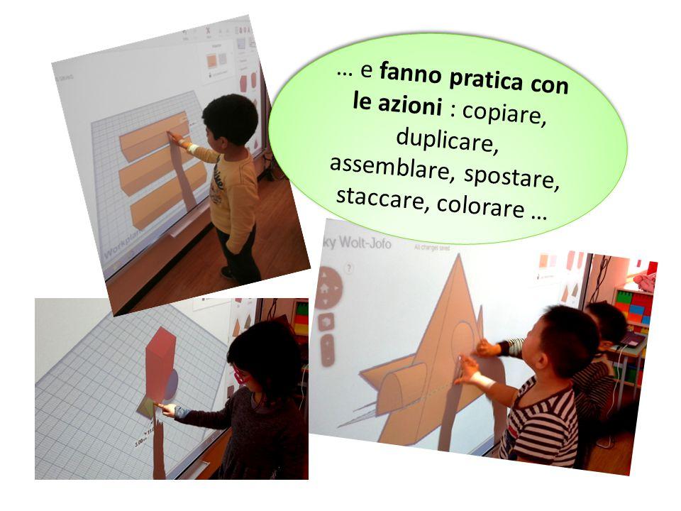 … e fanno pratica con le azioni : copiare, duplicare, assemblare, spostare, staccare, colorare …