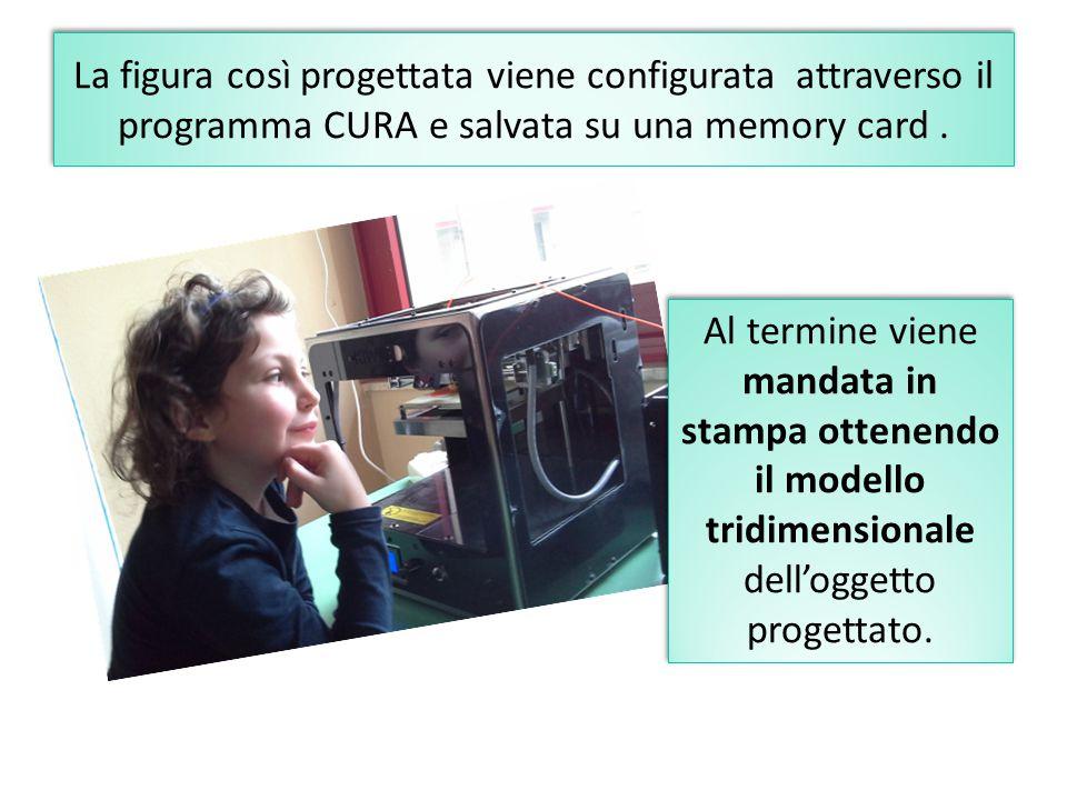La figura così progettata viene configurata attraverso il programma CURA e salvata su una memory card .
