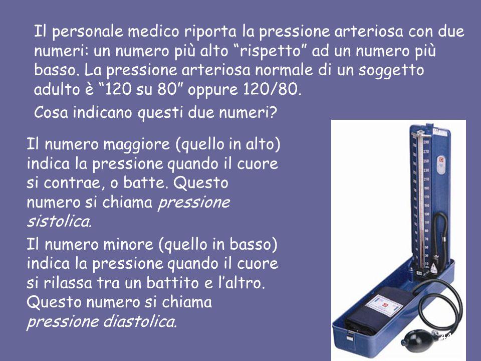 Il personale medico riporta la pressione arteriosa con due numeri: un numero più alto rispetto ad un numero più basso. La pressione arteriosa normale di un soggetto adulto è 120 su 80 oppure 120/80.