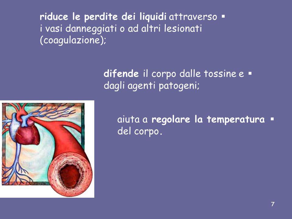 riduce le perdite dei liquidi attraverso i vasi danneggiati o ad altri lesionati (coagulazione);