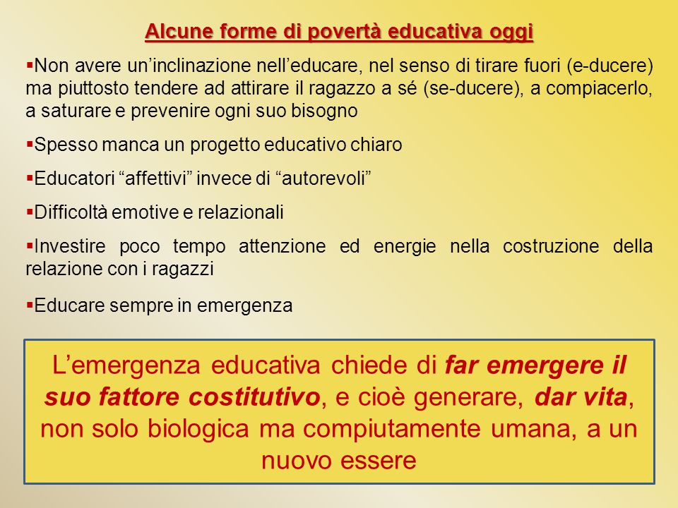 Alcune forme di povertà educativa oggi