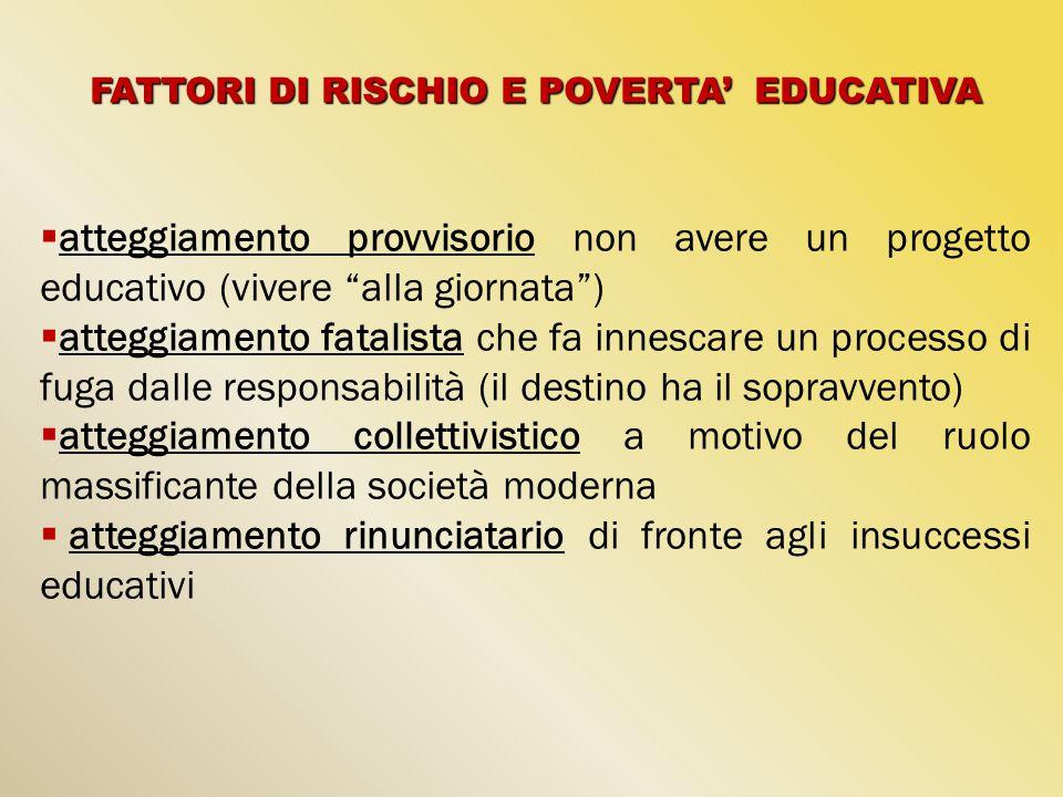 FATTORI DI RISCHIO E POVERTA' EDUCATIVA