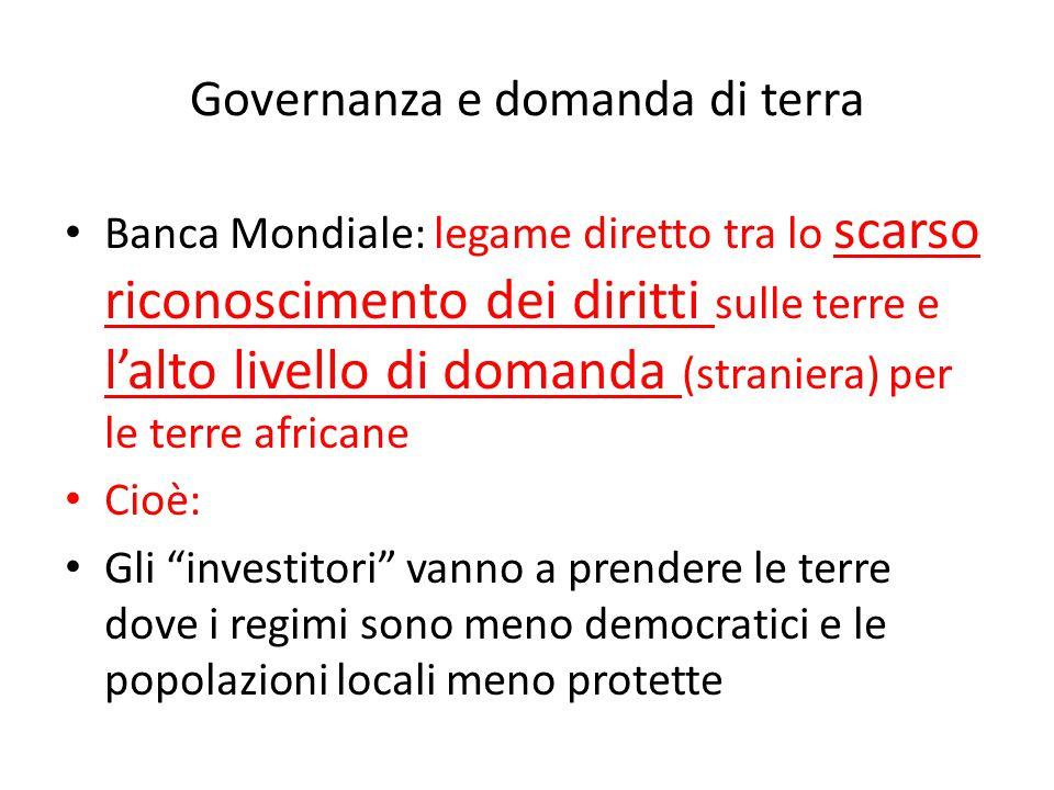 Governanza e domanda di terra