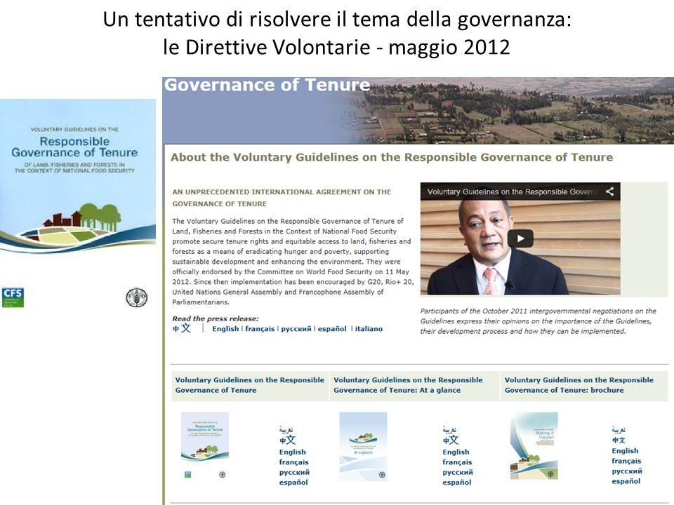 Un tentativo di risolvere il tema della governanza: le Direttive Volontarie - maggio 2012