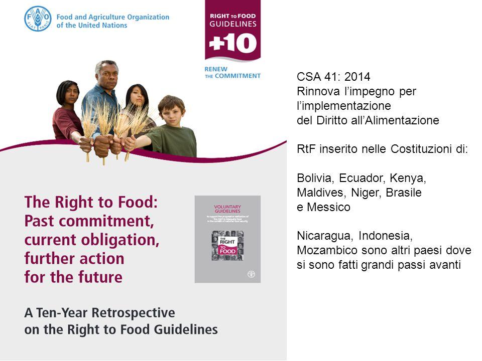 CSA 41: 2014 Rinnova l'impegno per. l'implementazione. del Diritto all'Alimentazione. RtF inserito nelle Costituzioni di: