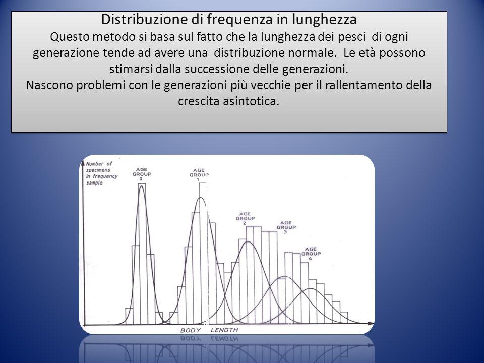 Distribuzione di frequenza in lunghezza Questo metodo si basa sul fatto che la lunghezza dei pesci di ogni generazione tende ad avere una distribuzione normale.