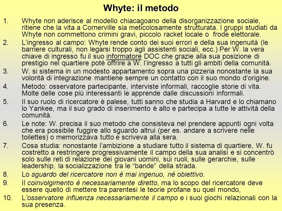 Whyte: il metodo