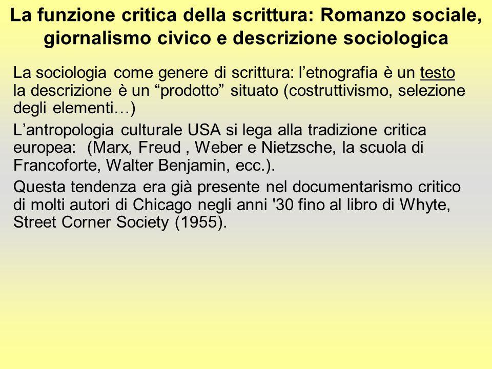 La funzione critica della scrittura: Romanzo sociale, giornalismo civico e descrizione sociologica