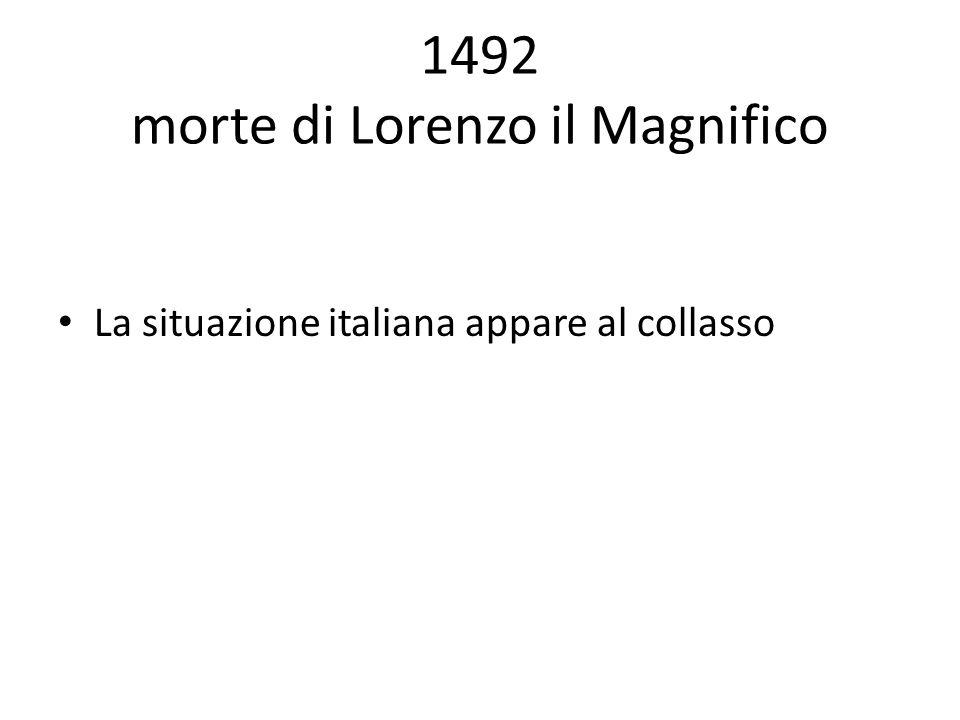 1492 morte di Lorenzo il Magnifico