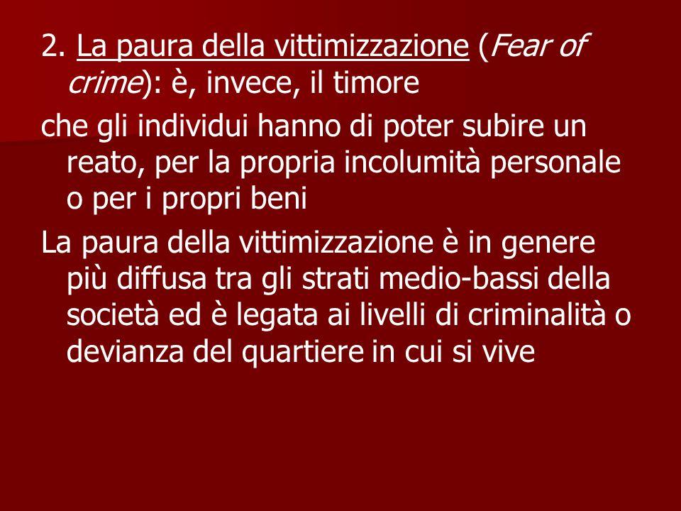 2. La paura della vittimizzazione (Fear of crime): è, invece, il timore