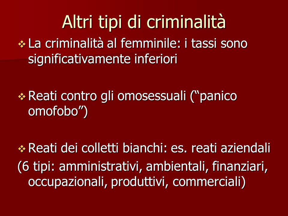Altri tipi di criminalità