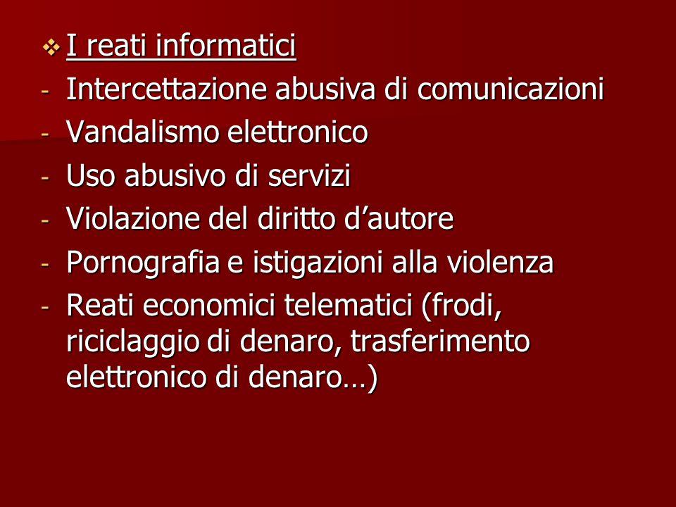 I reati informatici Intercettazione abusiva di comunicazioni. Vandalismo elettronico. Uso abusivo di servizi.