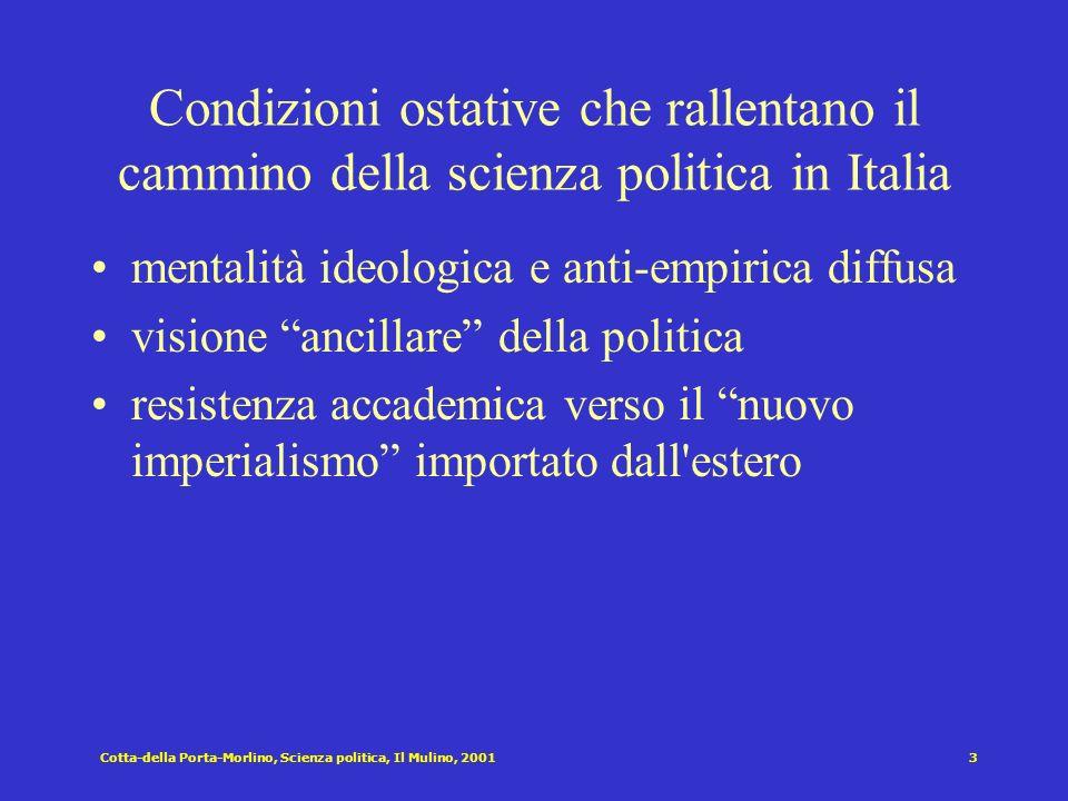 Condizioni ostative che rallentano il cammino della scienza politica in Italia