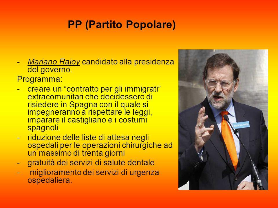 PP (Partito Popolare) Mariano Rajoy candidato alla presidenza del governo. Programma: