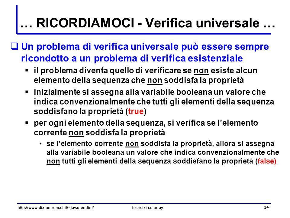 … RICORDIAMOCI - Verifica universale …