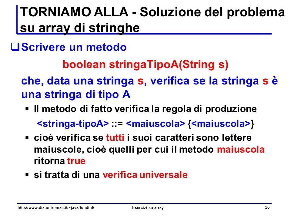 TORNIAMO ALLA - Soluzione del problema su array di stringhe