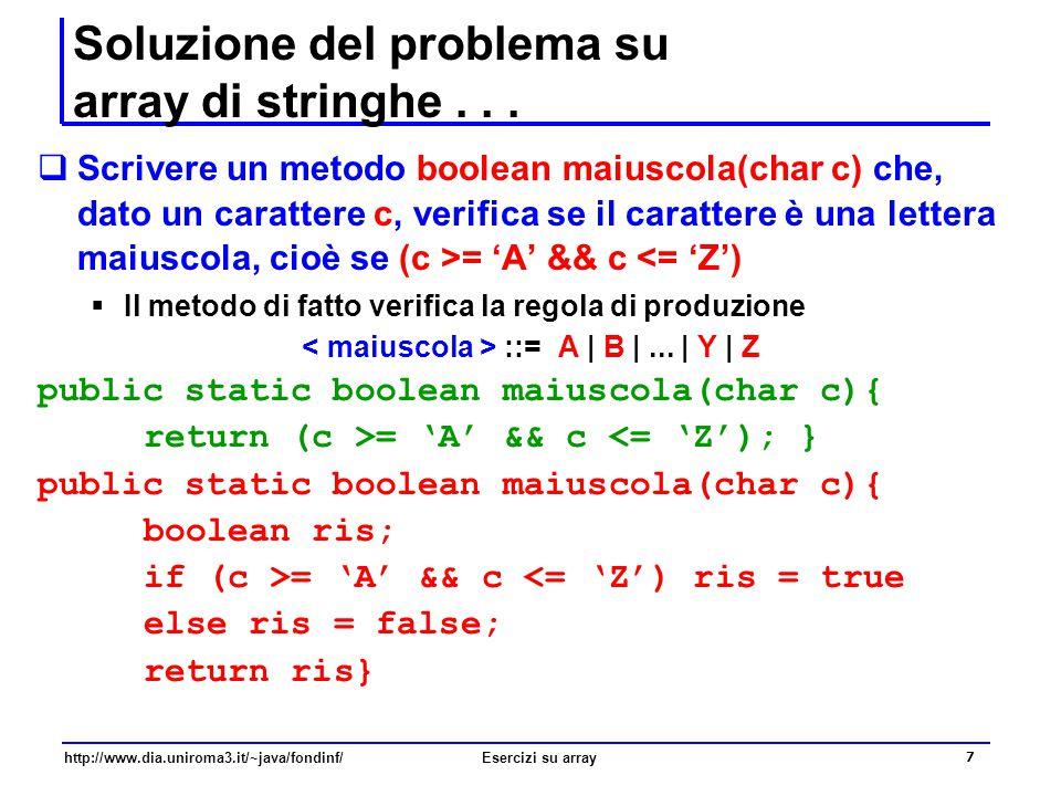 Soluzione del problema su array di stringhe . . .