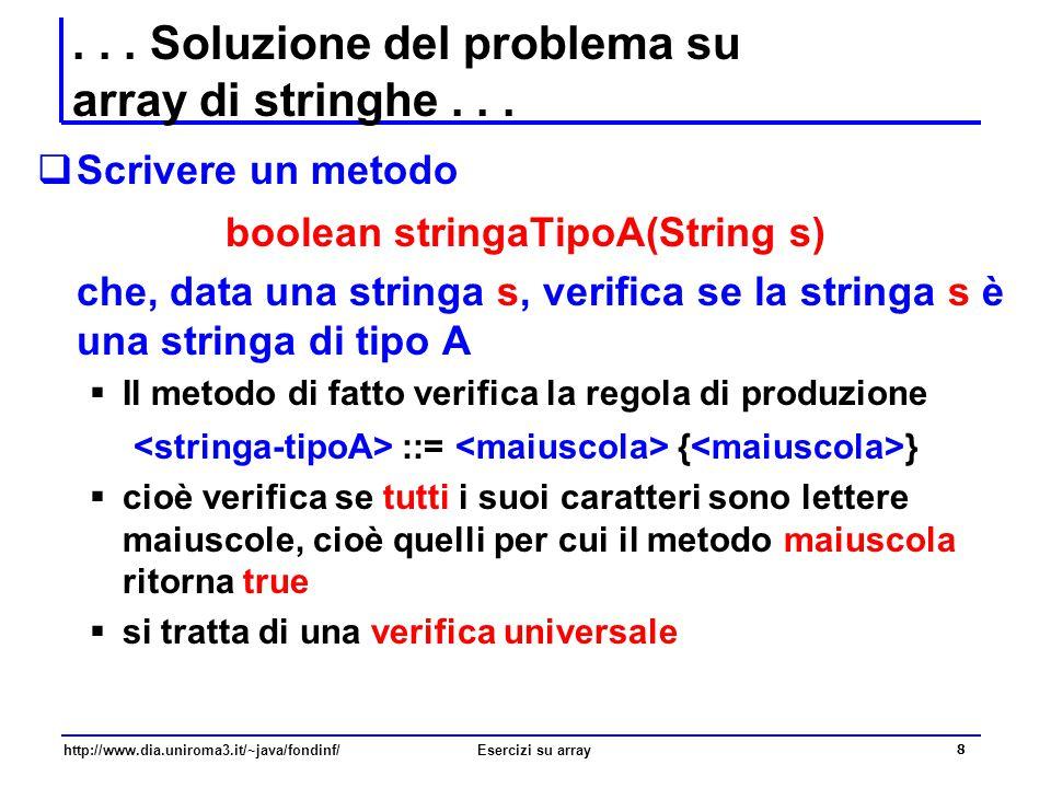 . . . Soluzione del problema su array di stringhe . . .