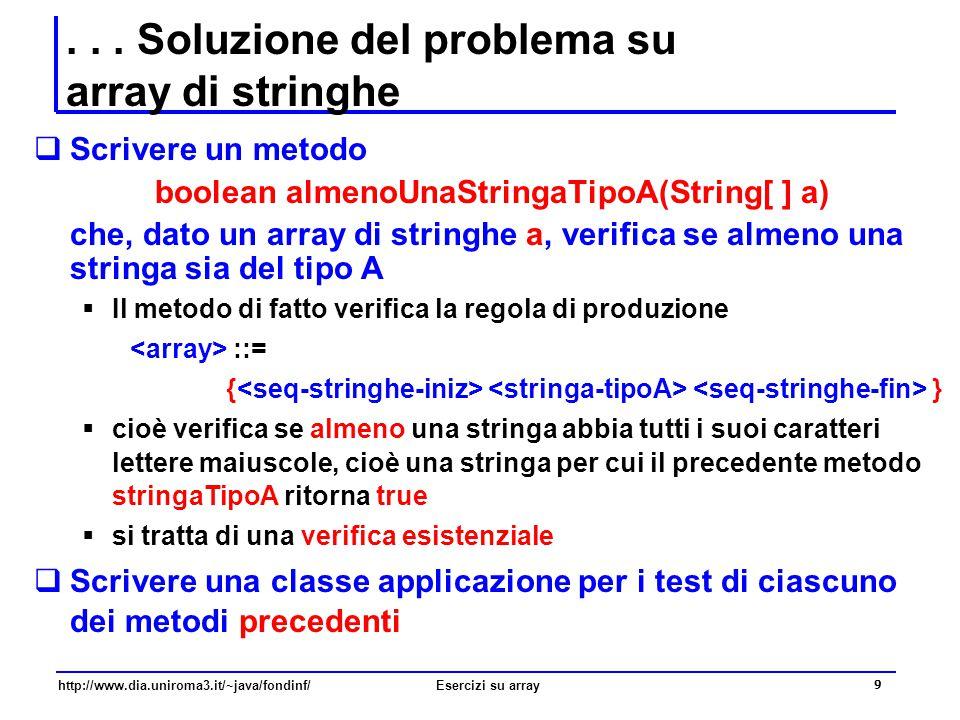 . . . Soluzione del problema su array di stringhe