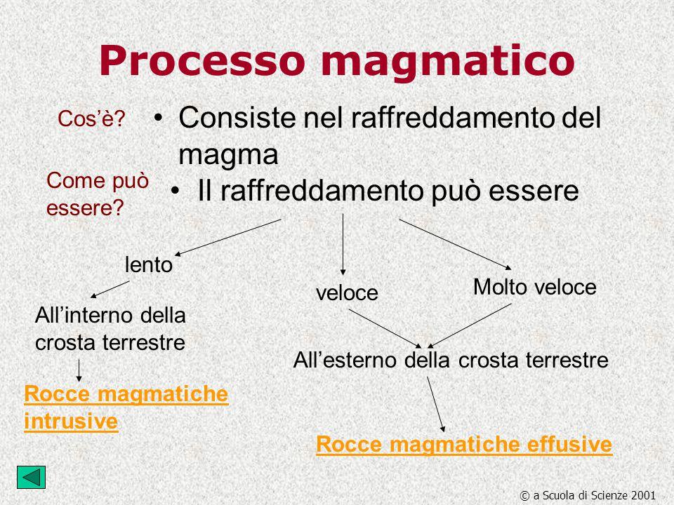 Processo magmatico Consiste nel raffreddamento del magma