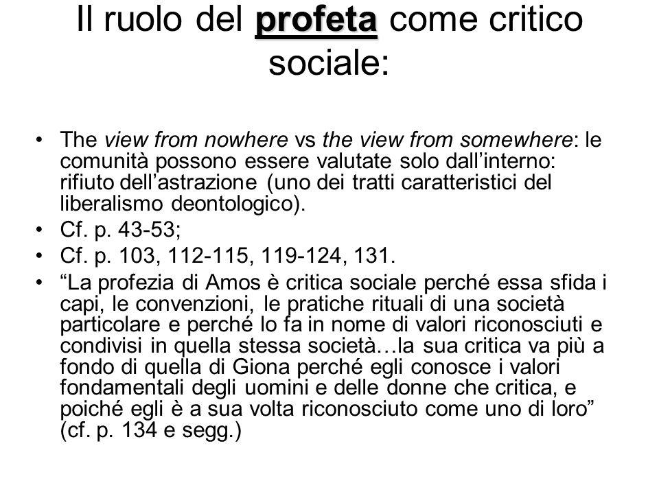 Il ruolo del profeta come critico sociale: