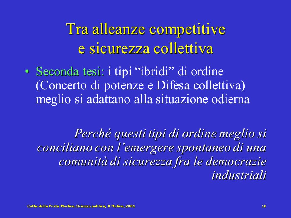 Tra alleanze competitive e sicurezza collettiva