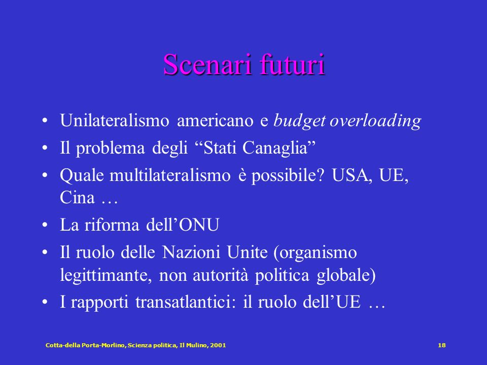 Scenari futuri Unilateralismo americano e budget overloading
