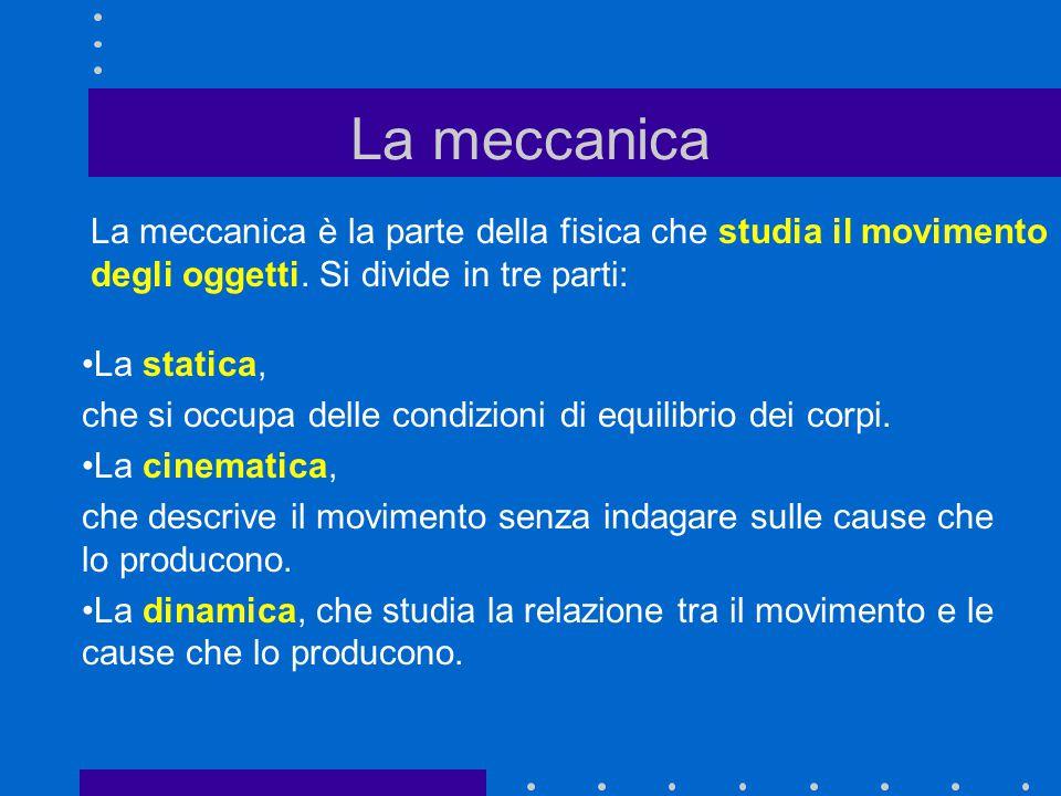 La meccanica La meccanica è la parte della fisica che studia il movimento degli oggetti. Si divide in tre parti: