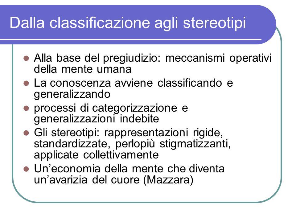 Dalla classificazione agli stereotipi