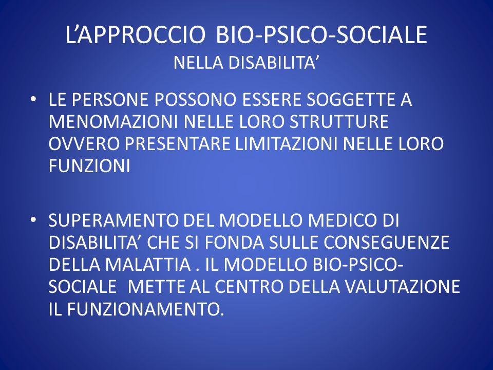 L'APPROCCIO BIO-PSICO-SOCIALE NELLA DISABILITA'