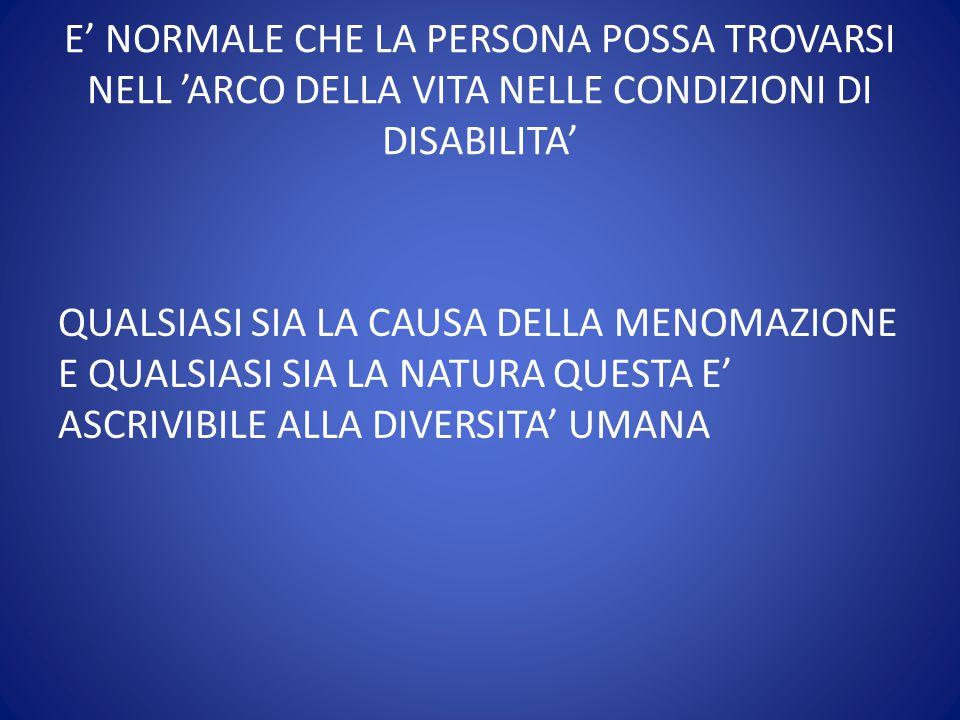 E' NORMALE CHE LA PERSONA POSSA TROVARSI NELL 'ARCO DELLA VITA NELLE CONDIZIONI DI DISABILITA'