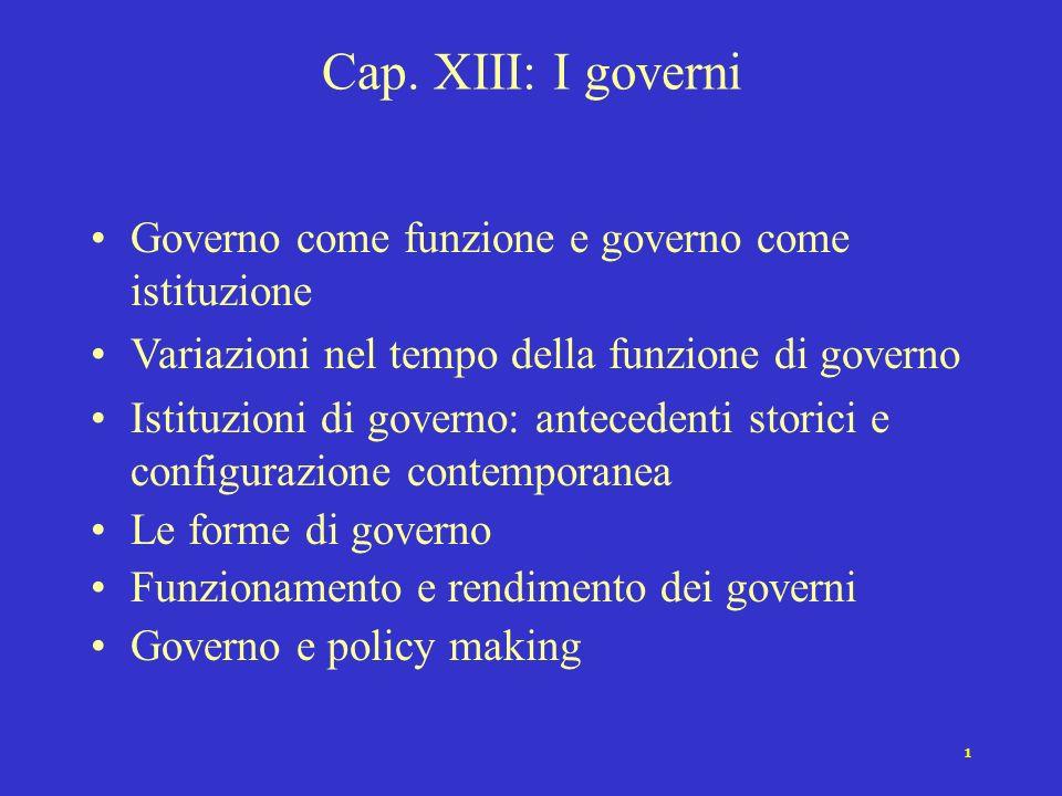 Cap. XIII: I governi Governo come funzione e governo come istituzione