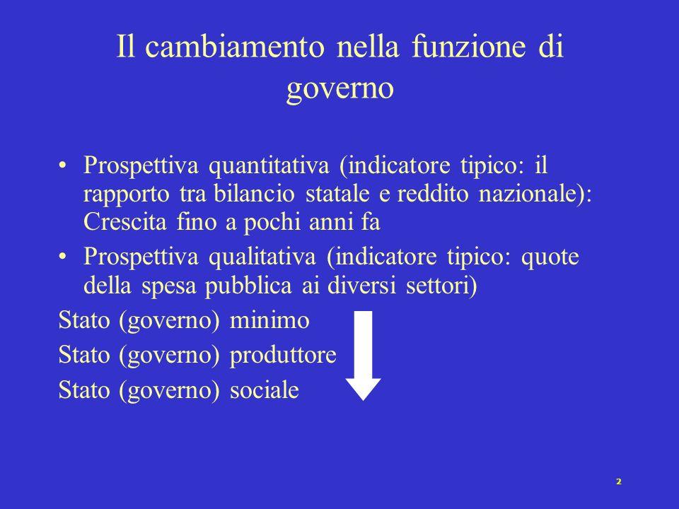 Il cambiamento nella funzione di governo
